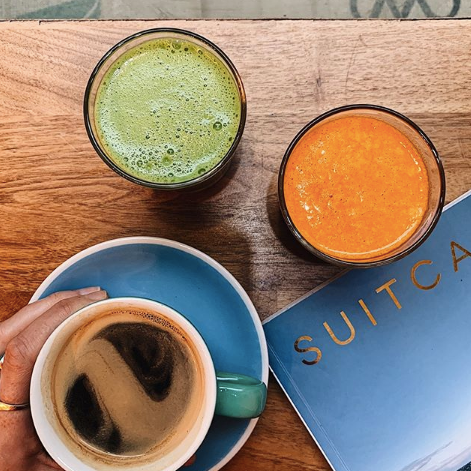 coffee, juices and suitcase magazine