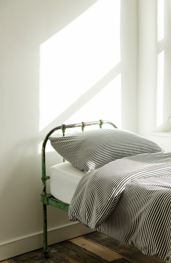 Back and white striped bedding