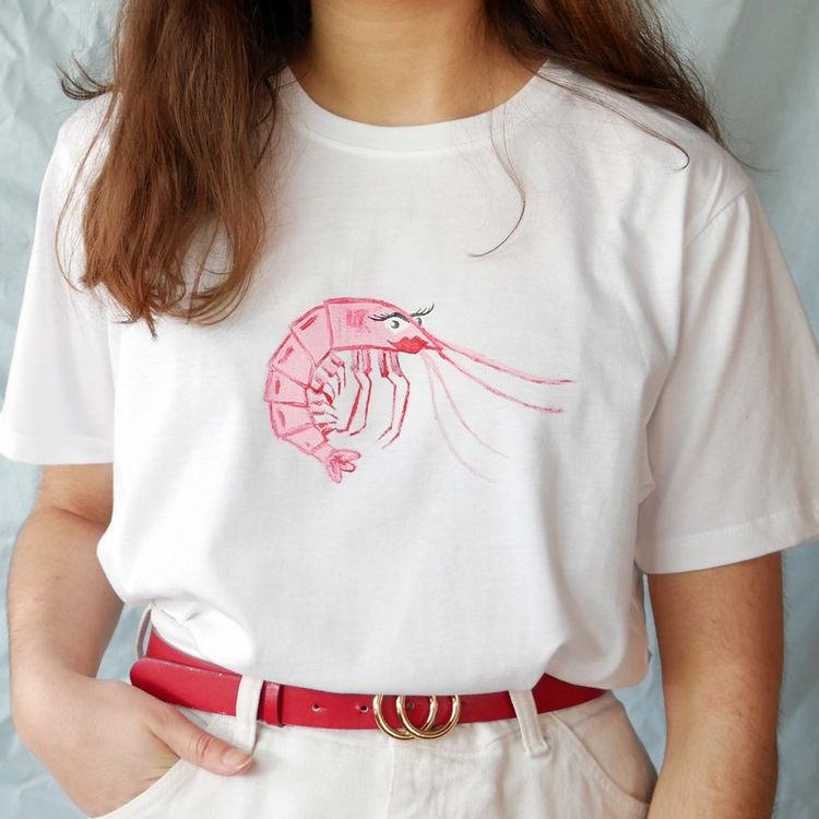 pink shrimp t-shirt